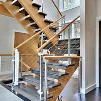 Комбинированная лестница из дуба