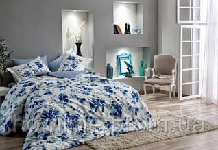 Постельное белье Tac сатин Digital Farida синее семейный размер