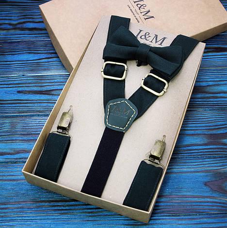 Набор I&M Craft галстук-бабочка и подтяжки для брюк темно-зеленые (030225), фото 2