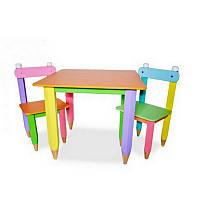 """Комплект """"Карандашики"""" столик 60*60 с пеналом и 2 стульчика, фото 1"""