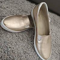 Туфли женские кожаные золото