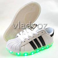 Детские светящиеся кроссовки с led подсветкой USB белые 33р.