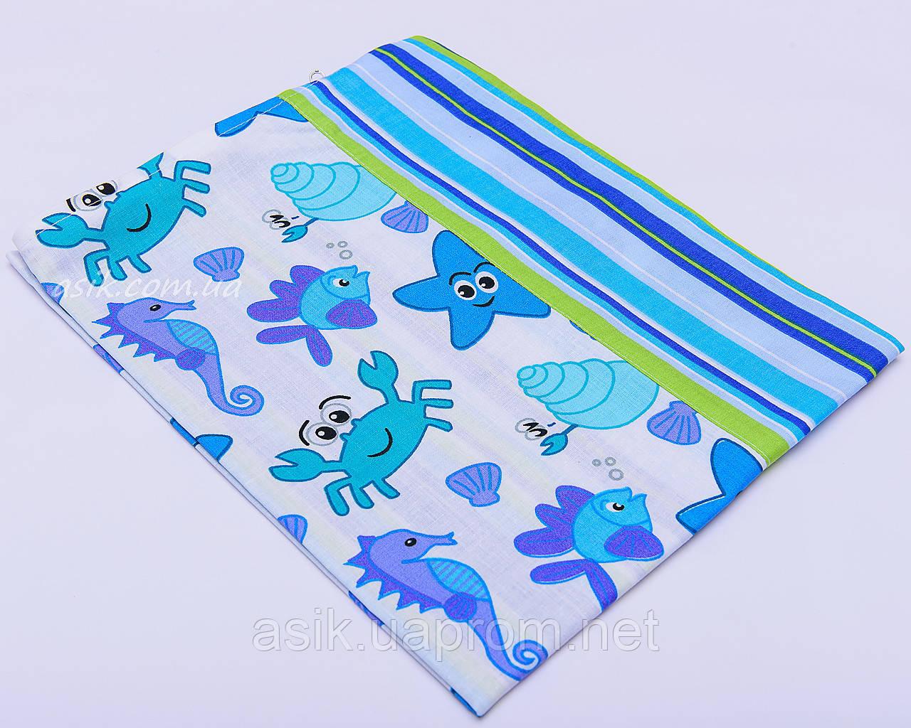 Наволочка комбинированная голубого цвета с крабами и полосками