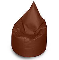 Кофейное бескаркасное кресло мешок Капелька из кож зама Зевс