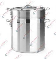 Кастрюля алюминиевая для пельменей риса и макарон с корзиной и крышкой, 26.00 л, Ø 400 мм