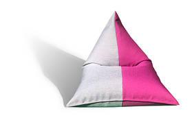 Двухцветное кресло мешок пирамида из мебельной ткани микро рогожка Савана