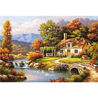 """MS612 Картина по номерам """"Уютный дом у реки"""", 40*50 см"""