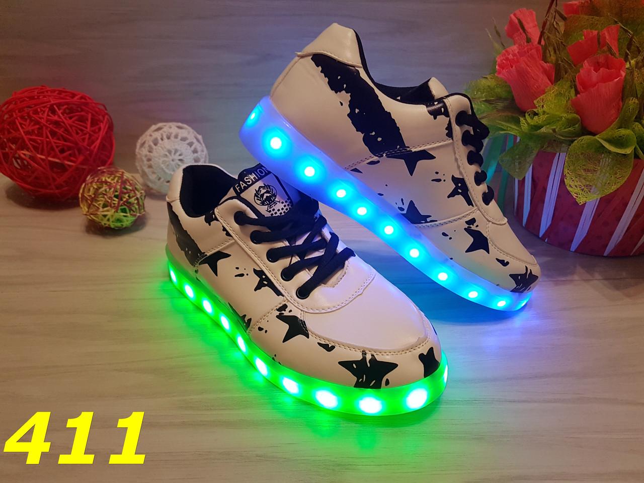 Кроссовки бело-черные с LED подсветкой