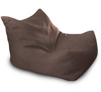 Темно коричневое бескаркасное кресло лежак из микро рогожки