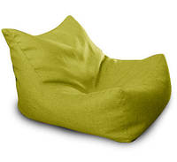 Салатовое бескаркасное кресло лежак из микро рогожки