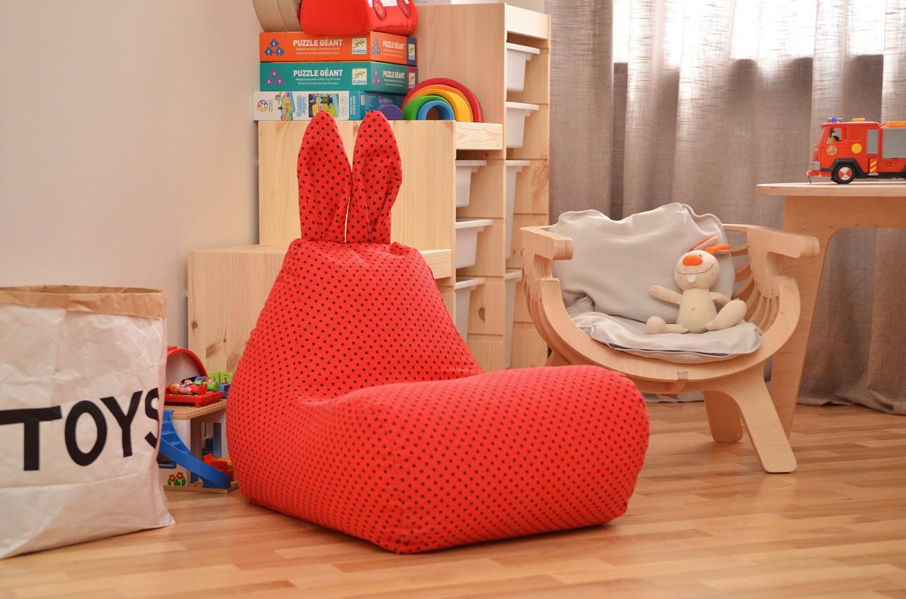 Детское кресло мешок Зайка из хлопка для детей 1,5 4 года