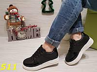 Кросівки форси чорні з лаковим носком і п'ятою, фото 1