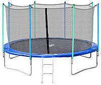 Батут Jumper 427 см с защитной сеткой и лестницей (безопасная внутренняя фиксация), фото 1