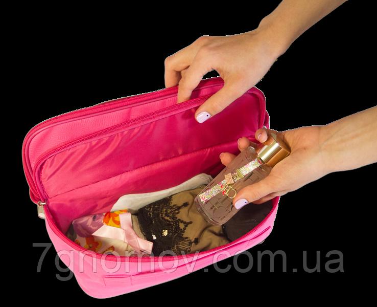 Органайзер дорожный для белья на два отделения ORGANIZE C003 розовый