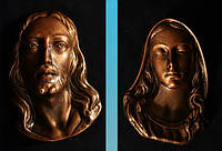 Декоративные накладки на памятники. Накладки на памятник Богородица и Иисус Христос из полимера 17 см
