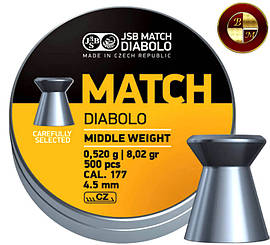 Кулі JSB Diabolo MATCH middle 4,5 mm. 500шт. 0,520 р.