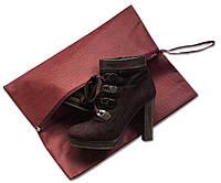 Объемная сумка-пыльник для обуви на молнии ORGANIZE HO-02 бордовый