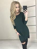 Женское платье свободного кроя   с  гипюровым  кружевом