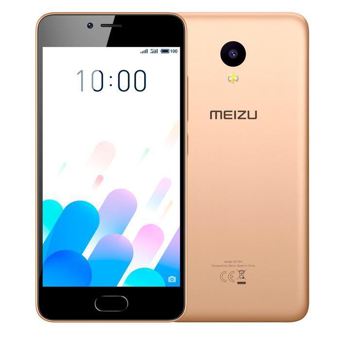 "Смартфон Meizu M5c Gold 2/16Gb, 4 ядра, 8/5Мп, 5"" IPS, 2 SIM, 4G, 3000 мАч, Android"