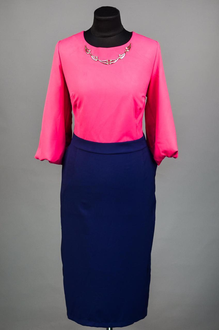 """Изумительное женское платье с рукавами фонариками ткань """"Хлопок+Стрейч"""" 48 размер батал"""