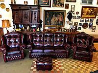Кожаный диван и два кресла Честерфилд