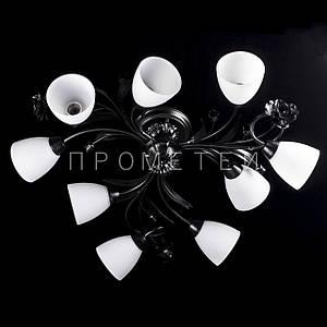 Люстра на 9 лампочек (черный). P3-11492/9C/BK+WT