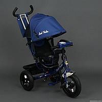 Детский трехколесный велосипед надувные колеса+фара   B. trike 659 синий