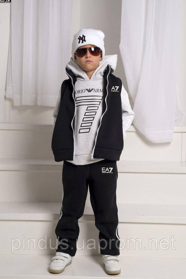 Детский, подростковый костюм, Тёплый спортивный костюм тройка с жилеткой,  104-140. Детский, подростковый костюм ... 72e4b414c68