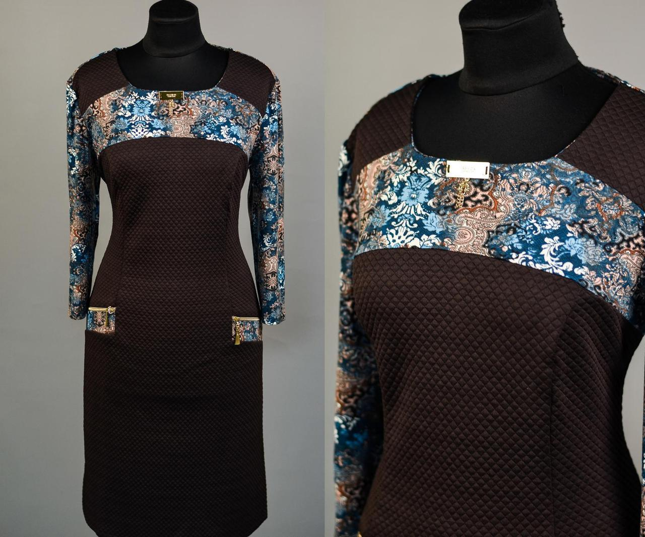 """Стильное женское платье ткань """"Французский трикотаж"""" 48 размер норма"""