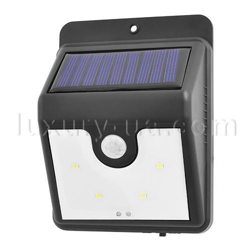 Настенный уличный светильник XF-6008-4SMD,  (датчик движения), CDS (датчик света), солнечная батарея,