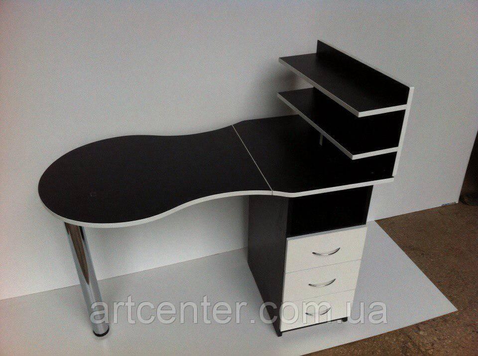 Стол для маникюра черно-белый с полочками для лаков над столешницей