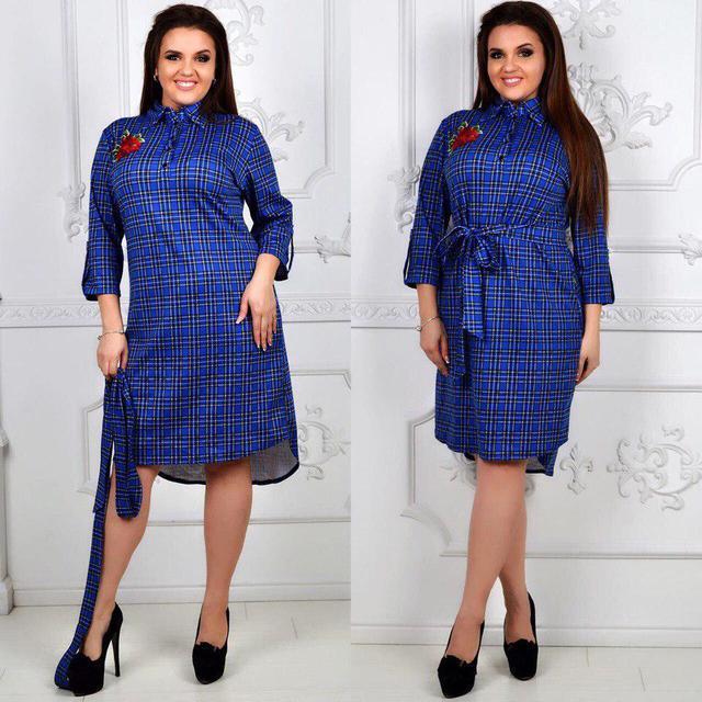 21b379f3257 Платье Рубашка с Удлиненной Спинкой Трикотаж Клетка Размеры 48 50 52 ...