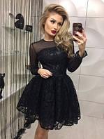 Кружевное платье Feofaniya силуэта беби-дол с пышной юбкой из дорогого гипюра с фатиновым подкладом, верх и рукава сетка, пояс в комплекте (Чёрное)