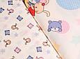 Сатин (хлопковая ткань) крупные зайки и мишки, фото 2