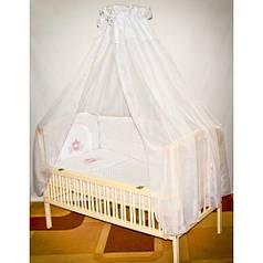 Детское постельное белье в кроватку с вышивкой Карета, комплект 7 ед.