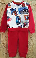 Пижама детская с машинками, трикотаж, на 1-4 года, Украина, красный