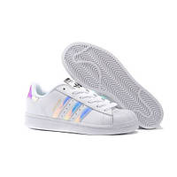 Кроссовки Adidas Superstar White Metallic Silver. Живое фото. Топ качество! (Реплика ААА+)