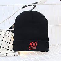 Модная женская трикотажная шапка 100 черного цвета