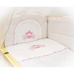 Детское постельное белье в кроватку с вышивкой Карета, комплект 6 ед.