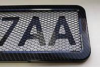Рамка для автомобильного номера из нержавеющей стали карбон с сеткой