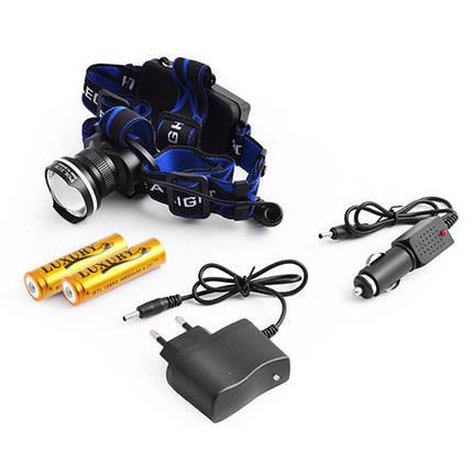 Фонарь на лоб Police 12V XQ-24-T6, zoom, 2x18650, ЗУ 220V/12V, комплект, фото 2