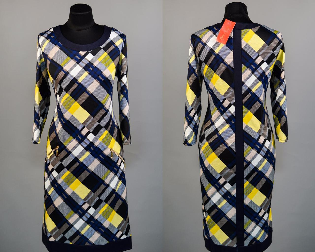 """Стильное женское платье ткань """"Французский трикотаж"""" 50, 52 размер батал"""