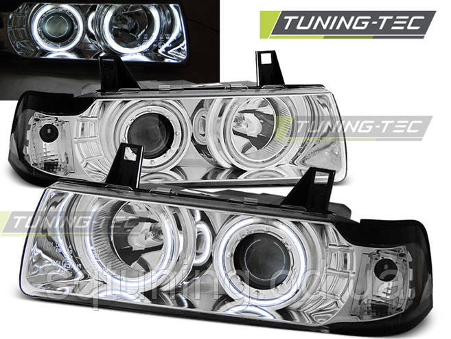 Фары BMW E36 12.90-08.99 C/C ANGEL EYES CHROME