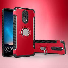 Чехол накладка для Huawei Mate 10 Lite   nova 2i противоударный Carbon Fibre с кольцом подставкой, красный