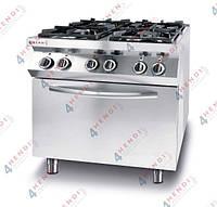 Плита газовая 4-х конфорочная Kitchen Line с электрическим конвекционным жарочным шкафом GN 1/1