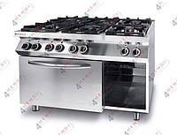 Плита газовая 6-ти конфорочная Kitchen Line с электрическим конвекционным жарочным шкафом GN 1/1