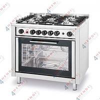 Плита газовая - 5-ти конфорочная с электрическим конвекционным жарочным шкафом и грилем, 14,3kW, 900x600x850/900(H) мм, 78кг