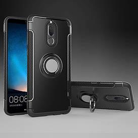 Чехол накладка для Huawei Mate 10 Lite | nova 2i противоударный Carbon Fibre с кольцом подставкой, черный