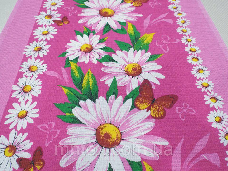"""Ткань вафельная ширина 50 см Ромашки на розовом / """"Чарівна Ніч"""""""
