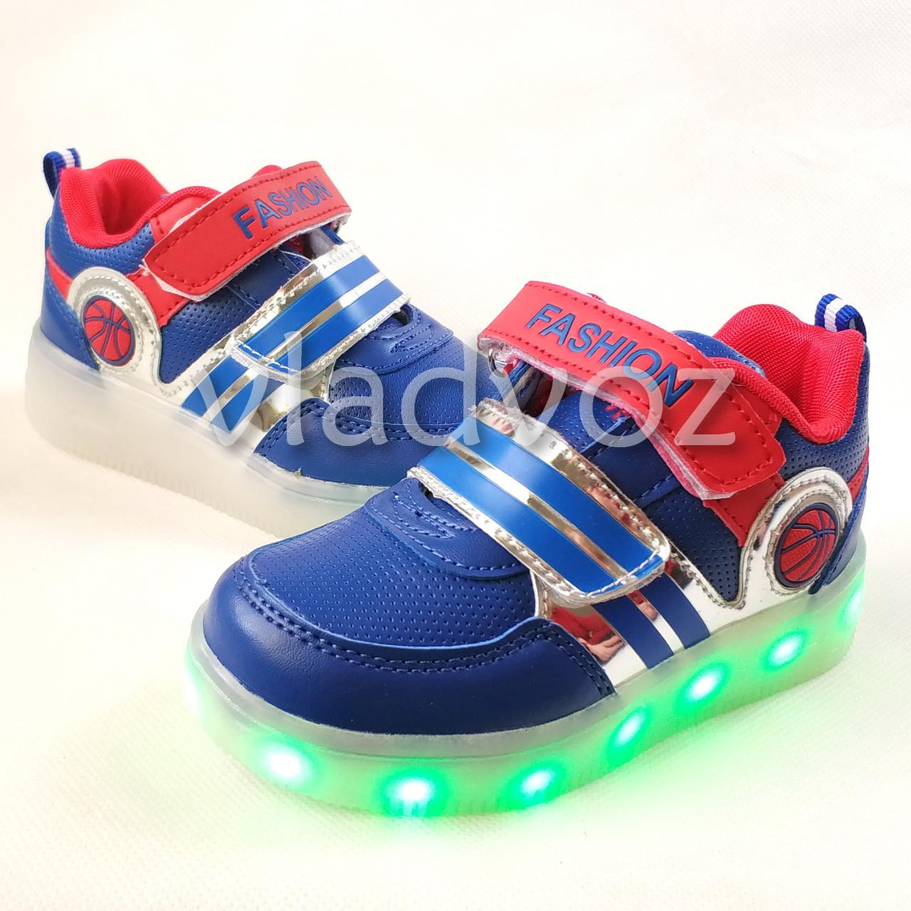 фото детских светящихся кроссовок с led подсветкой синие для мальчика